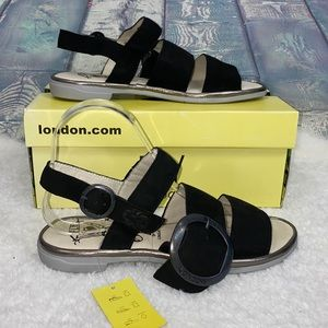 Fly London cupid Idra black suede open toe sandals